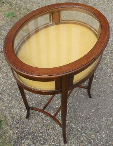 Oval Mahogany Bijouterie Display Cabinet